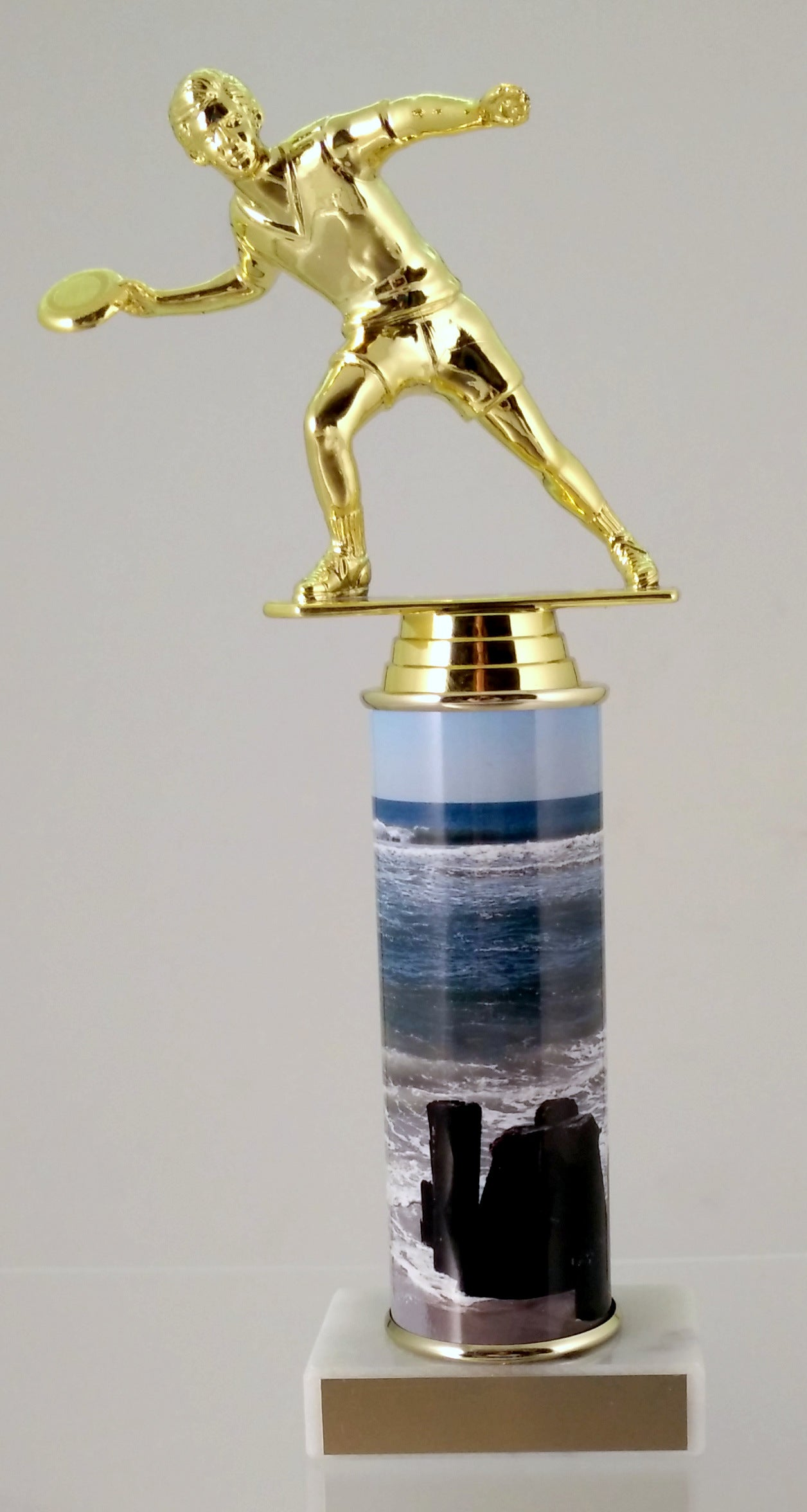 Frisbee Trophy With Beach Metal Column On Marble-Trophy-Schoppy's Since 1921