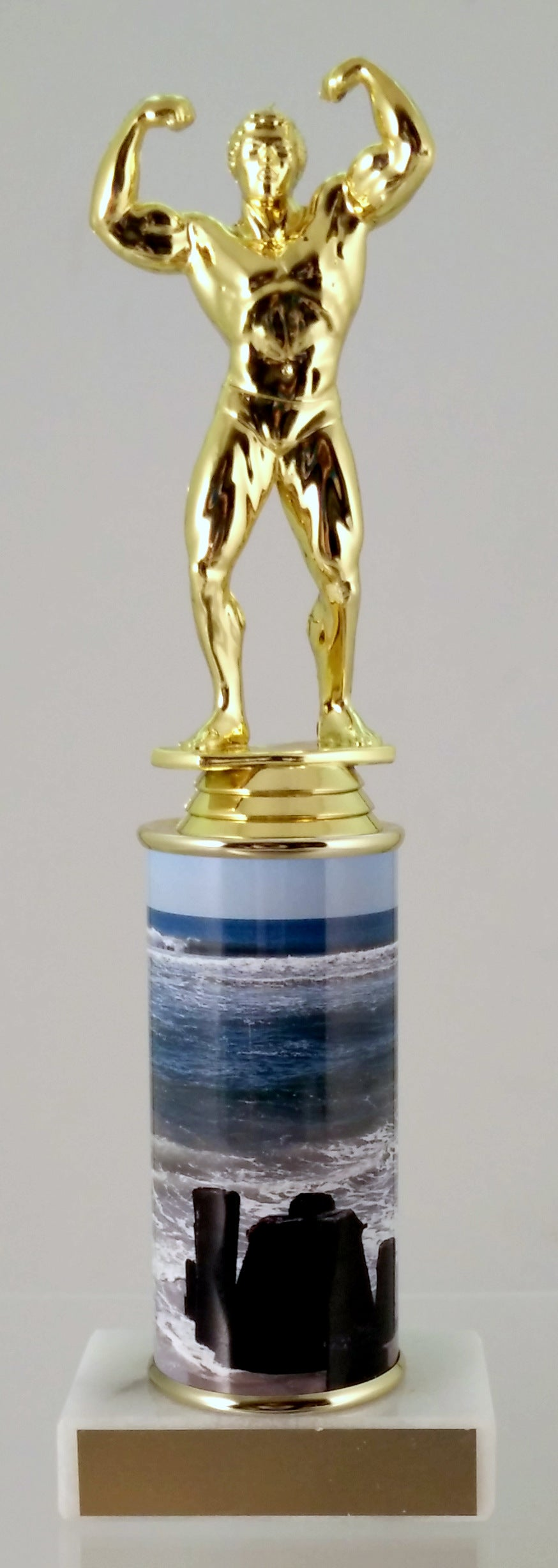 Body Builder Trophy With Beach Metal Column On Marble-Trophy-Schoppy's Since 1921