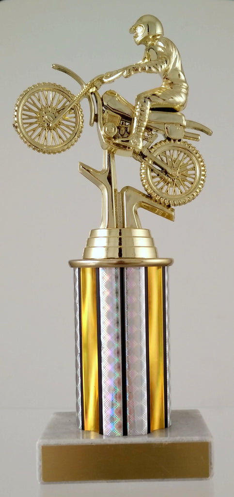 Dirt Bike Trophy With Column On Marble Base