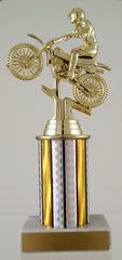 Dirt Bike Trophy With Column On Marble Base-Trophies-Schoppy's Since 1921