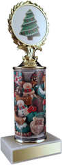 Christmas Cookie Column Trophy On Marble-Trophy-Schoppy's Since 1921