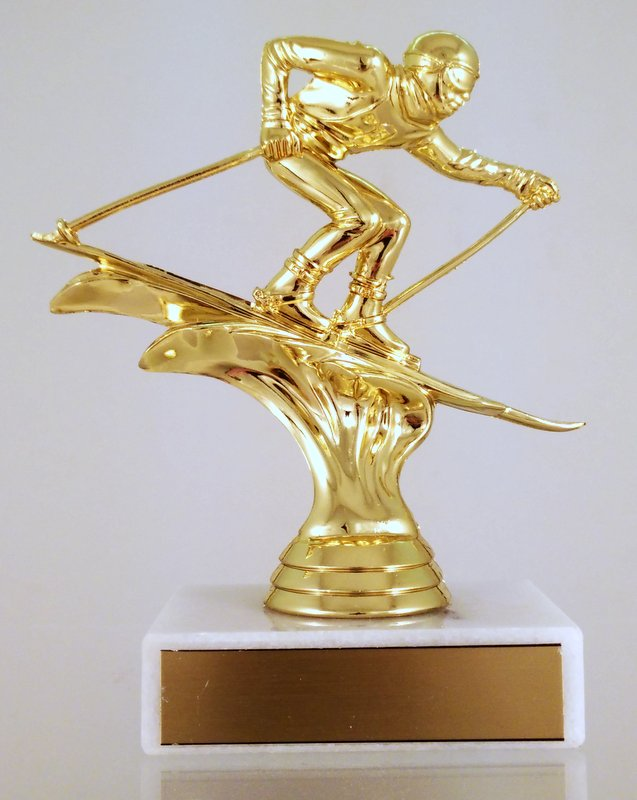 Downhill Skier Trophy On Flat Marble-Trophy-Schoppy's Since 1921