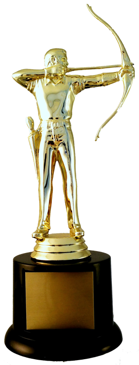 Archery Figure Trophy On Black Round Base