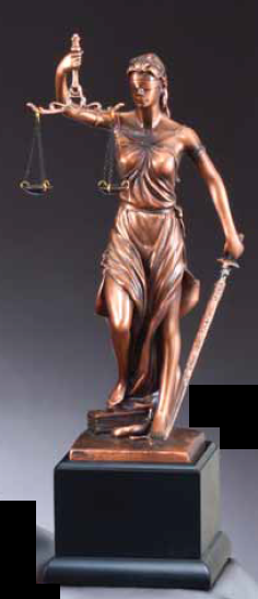 Lady Justice Electroplate Resin Sculpture
