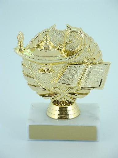 Lamp of Knowledge Wreath Trophy on Marble Base