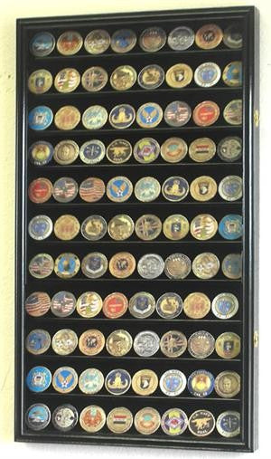 Large Military Challenge Coin Display Case Cabinet - Black-Display Case-Schoppy's Since 1921