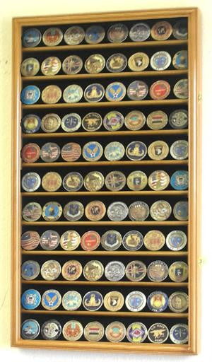 Large Military Challenge Coin Display Case Cabinet - Oak-Display Case-Schoppy's Since 1921