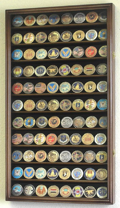 Large Military Challenge Coin Display Case Cabinet - Walnut-Display Case-Schoppy's Since 1921