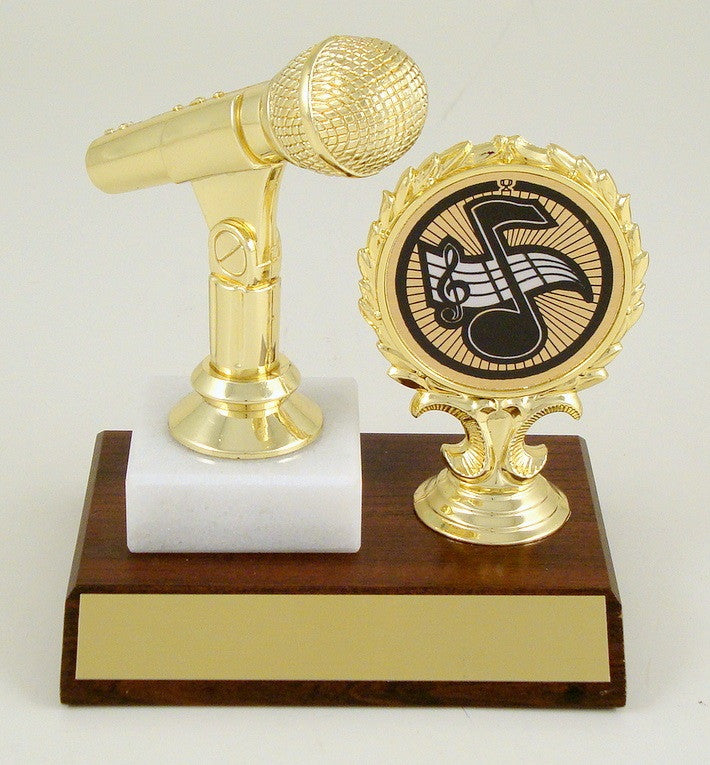 Microphone with Logo Holder on Slant Front Wood Base