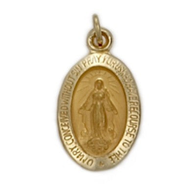 Miraculous Medal Oval 14K Yellow Gold