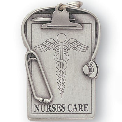 Nurses Care Sculptured Genuine Pewter Key Chain-Key Chain-Schoppy's Since 1921