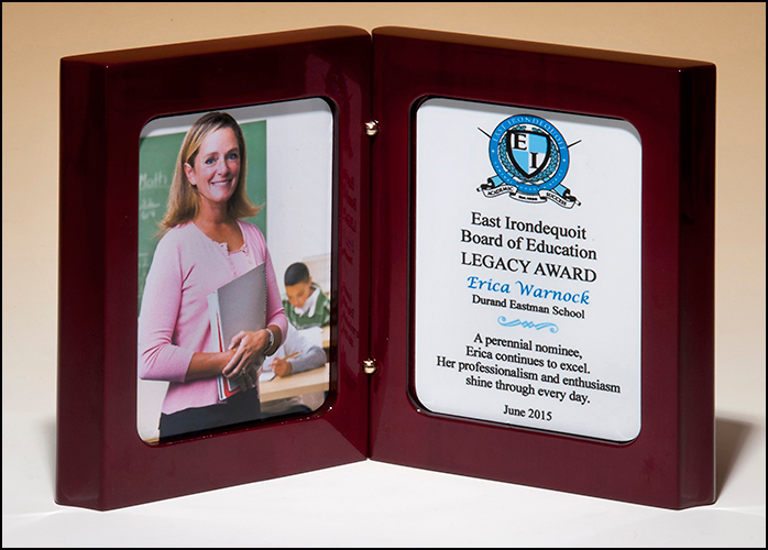 High Gloss Rosewood Stained Book Award with Two White Sublimatable Plates for Full Color Printing P4877