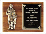 Walnut Plaque with Fireman & Children-Plaque-Schoppy's Since 1921