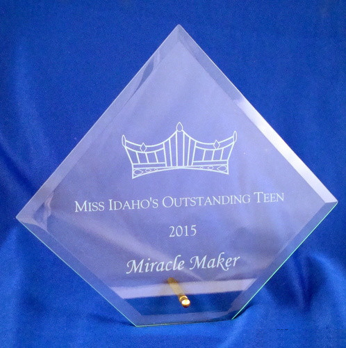 Pageant Diamond Glass Award - Large Clear