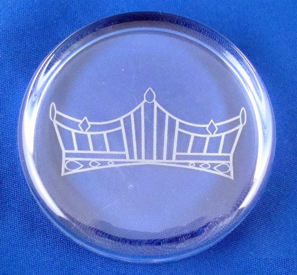 Pageant Crown Logo on Round Crystal Paperweight