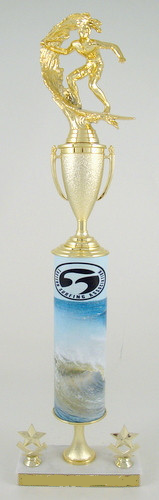 Jersey Wave Original Metal Roll Column Trophy