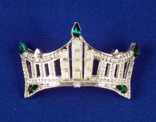 Rhinestone Crown Pin: An Instant Pageant Classic - Green
