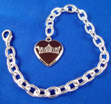 Silver Crown Logo Bracelet with Heart Charm-Jewelry-Schoppy's Since 1921