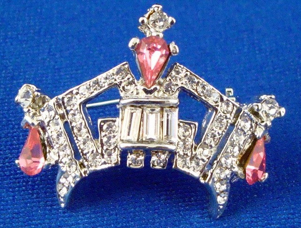 Premium Rhinestone Crown Pin - Medium Pink