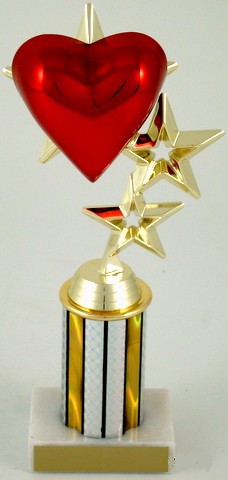 "Heart Triple-Star Trophy on 3"" Column-Trophies-Schoppy's Since 1921"
