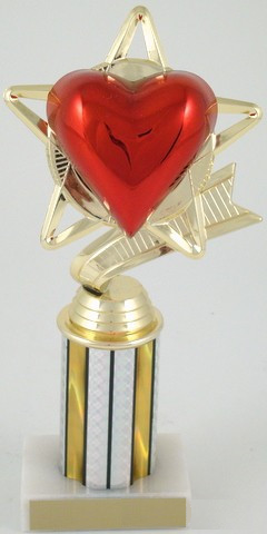 "Heart Star Trophy on 3"" Column"