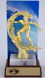 Premium Surfer with Color Backdrop On Marble and Wood Base-Trophies-Schoppy's Since 1921