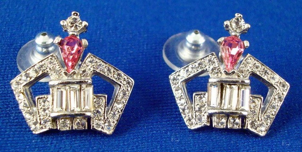 Small Crown Earrings with Pink Stone-Jewelry-Schoppy's Since 1921