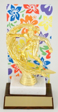 ESA Hawaiian Flower Trophy with Metal Backdrop On Marble and Wood Base-Trophies-Schoppy's Since 1921