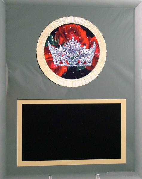 Pageant Crown Glass Plaque