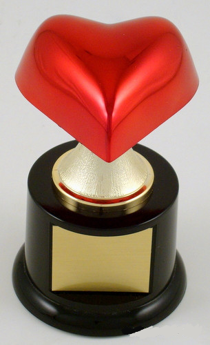 Heart on Stem Riser Round Base Trophy