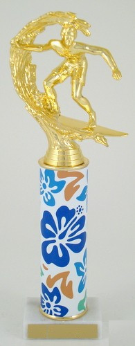 Hawaiian Flower Trophy with Original Metal Roll Column
