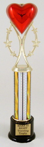 Heart Trophy on Six-Star Riser, Column, and Black Round Base