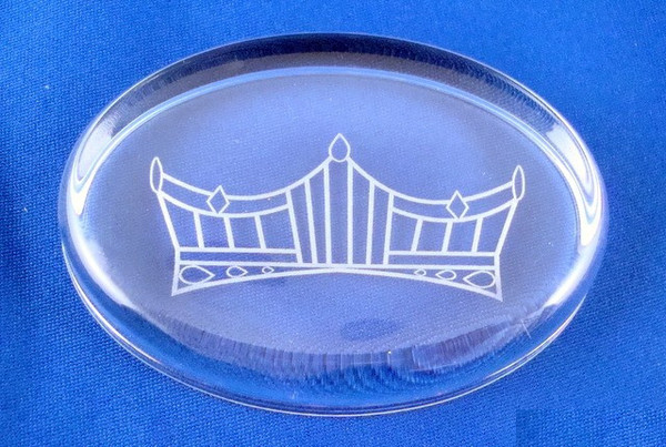 Pageant Crown Logo on Oval Crystal Paperweight