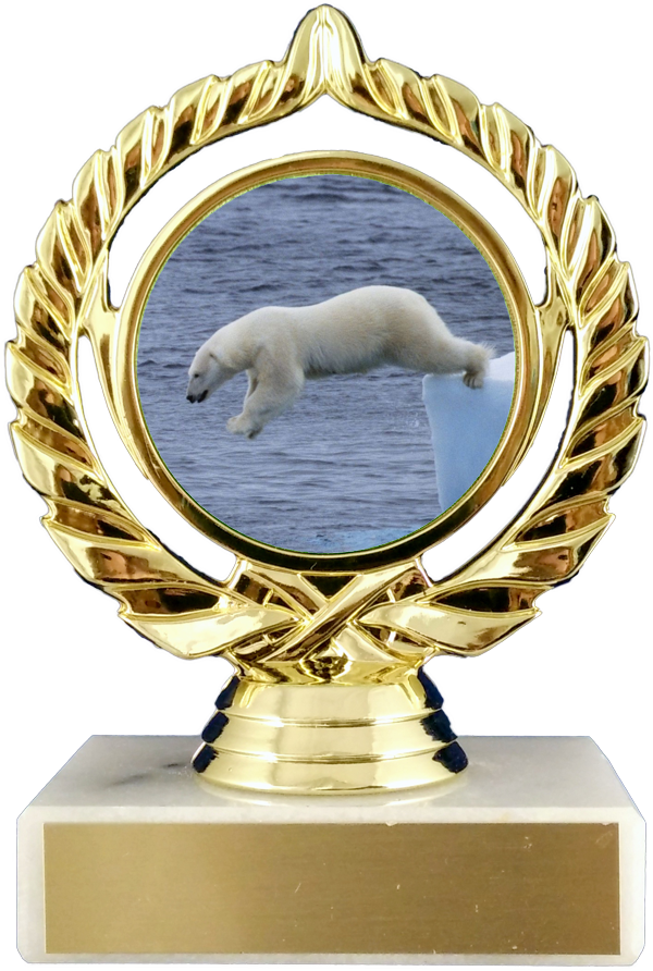 Polar Bear Logo Trophy On Marble