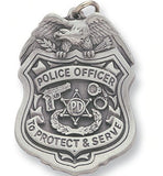 Police Officer Sculptured Badge Genuine Pewter Key Chain-Key Chain-Schoppy's Since 1921
