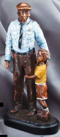 American Hero Series Policeman With Child Resin