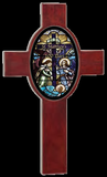 Wooden Cross with Photo Oval-Religious Medallion-Schoppy's Since 1921