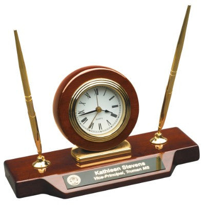 Clock with Double Pen Set in Rosewood Piano Finish
