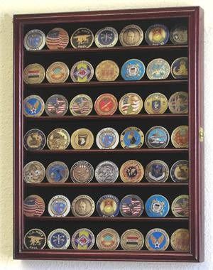 Small Military Challenge Coin Display Case Cabinet - Cherry-Display Case-Schoppy's Since 1921