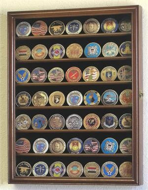 Small Military Challenge Coin Display Case Cabinet - Walnut-Display Case-Schoppy's Since 1921