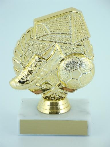 Soccer Wreath Trophy on Marble Base-Trophies-Schoppy's Since 1921