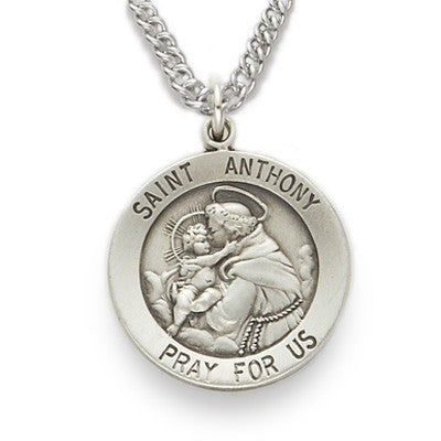 St. Anthony Sterling Silver Round Medal-Religious Medallion-Schoppy's Since 1921