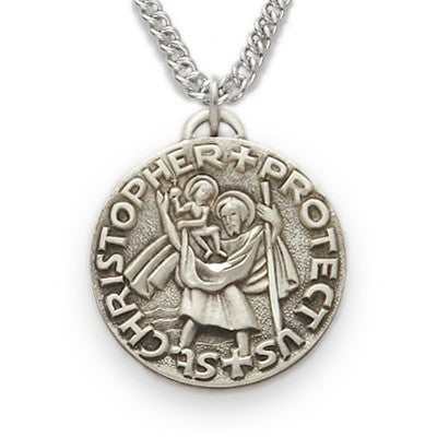 St. Christopher Sterling Silver Round Medal-Religious Medallion-Schoppy's Since 1921