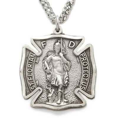 St. Florian Sterling Silver Shield Medal Engraved-Religious Medallion-Schoppy's Since 1921