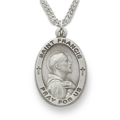 St. Francis Sterling Silver Oval Medal-Religious Medallion-Schoppy's Since 1921