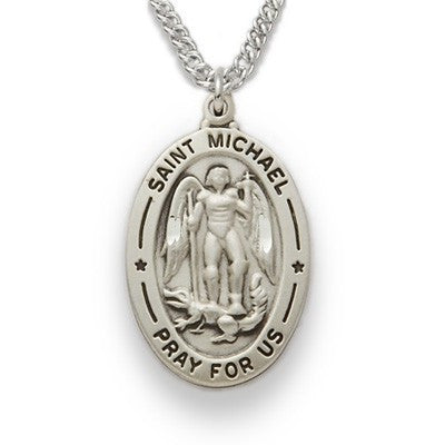 St. Michael Sterling Silver Oval Medal-Religious Medallion-Schoppy's Since 1921