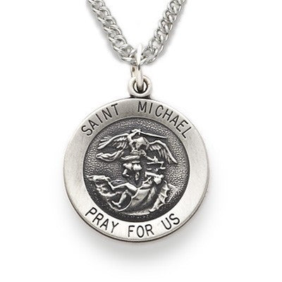 St. Michael Sterling Silver Round Medal-Religious Medallion-Schoppy's Since 1921