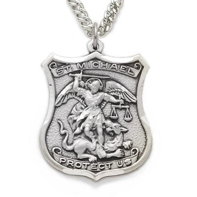 St. Michael Sterling Silver Shield Medal-Religious Medallion-Schoppy's Since 1921