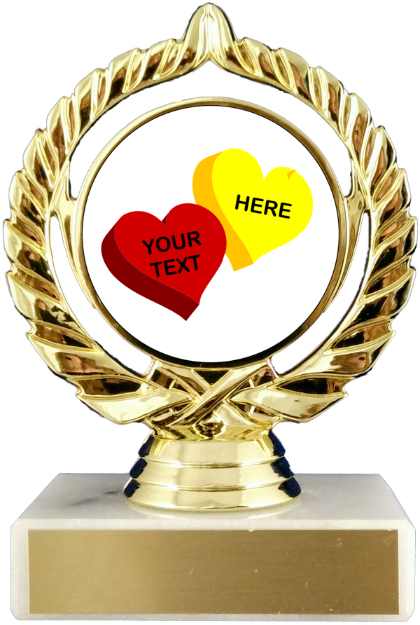 Valentine's Day Sweet Hearts Custom Logo Trophy On Flat White Marble