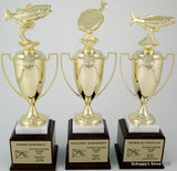 Flounder Trophy Cup -Gold Metal on Marble & Walnut Base-Trophies-Schoppy's Since 1921